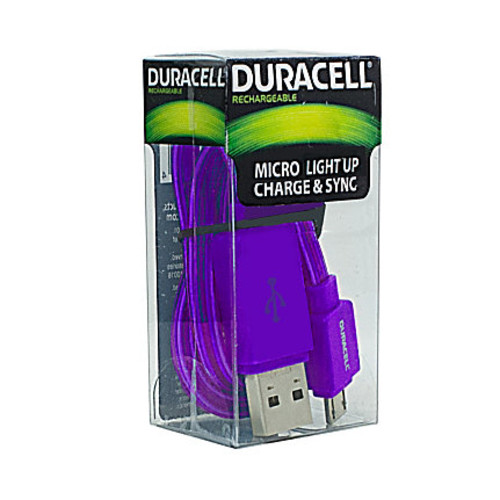 Duracell Light Up Micro USB Cable, 3', Purple, LE2246