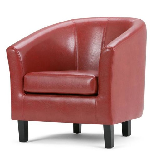 Simpli Home Austin Red Faux Leather Arm Chair