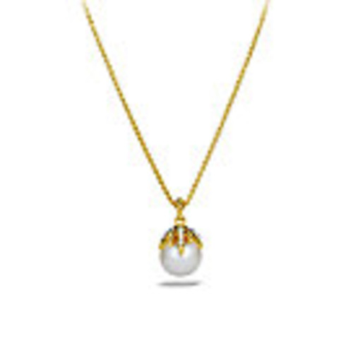 Starburst Pearl Pendant with Diamonds in Gold on Chain