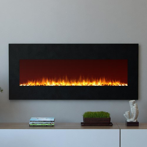 Moda Flame Oxford 50 in. Wall Mounted Electric Fireplace in Black