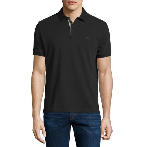 BURBERRY BRIT Short-Sleeve Oxford Polo Shirt, Black