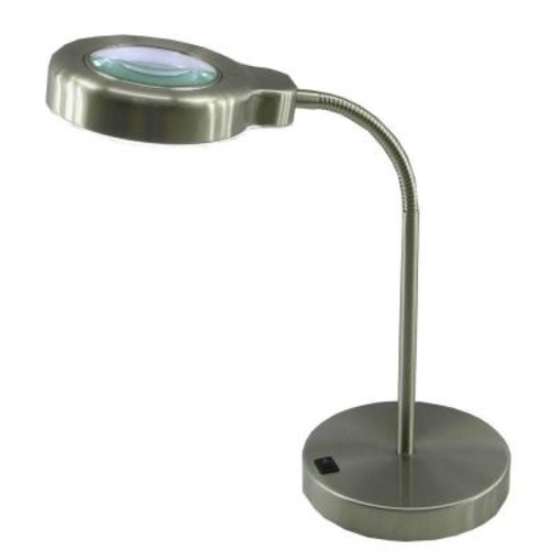 Normande Lighting 15 in. Brushed Steel Fluorescent Magnifier Desk Lamp