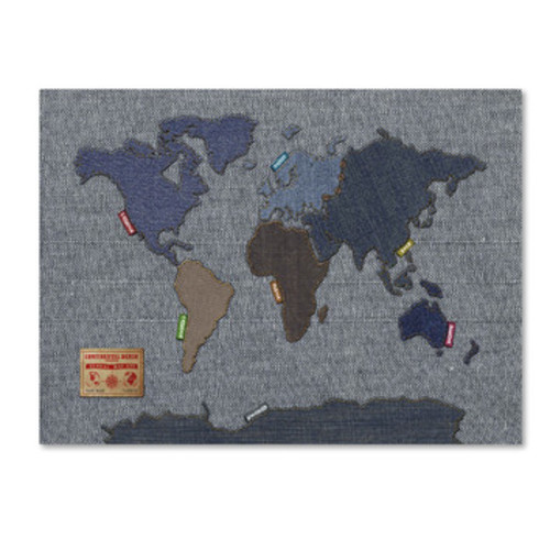 'Denim World Map' by Michael Tompsett Framed Graphic Art on Wrapped Canvas