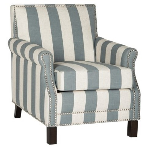 Easton Club Chair With Awning Stripes - Silver Nail Heads - Safavieh