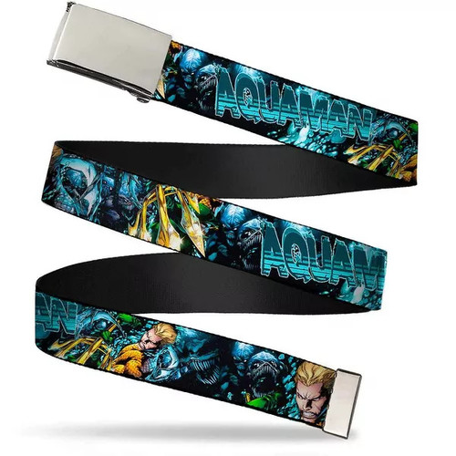 Blank Chrome Buckle Aquaman The Trench Part One Comic Book Cover Web Belt - S