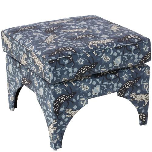 Traci Pillow Top Ottoman, Leopard Blue