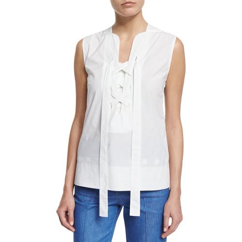 DEREK LAM Sleeveless Lace-Front Poplin Top, White