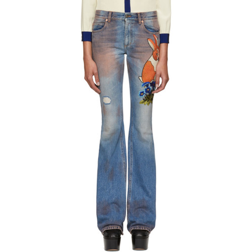 GUCCI Blue Embroidered Flared Jeans