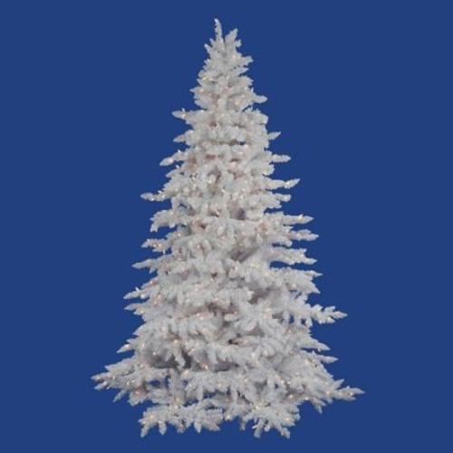 Vickerman Pre-Lit 6.5' Flocked White Spruce Artificial Christmas Tree, Dura-Lit, Clear Lights