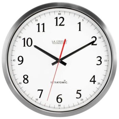 La Crosse Technology UltrAtomic 14 in. Round Atomic Analog Wall Clock in Silver