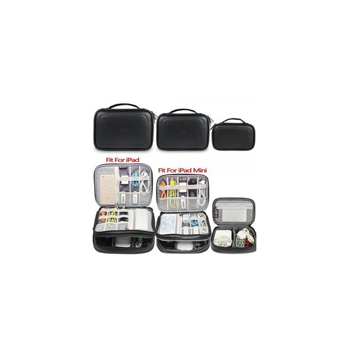 BUBM 3pcs Double Layer Electronic Organizer, PU Leather Travel Gadgets Bag for Cables, Hard Flash Drive, Memory Card, Power Bank and More, Compact and Multi-purpose (Black)