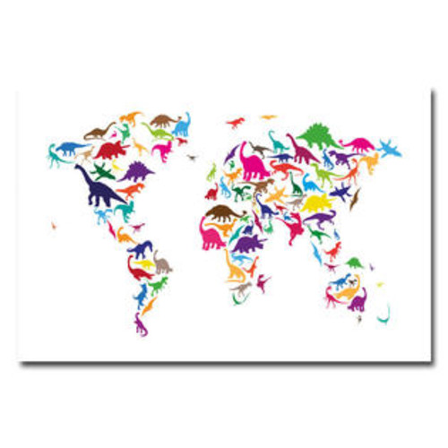 Trademark Global 'Dinosaur World Map' by Michael Tompsett Graphic Art on Canvas Size: 24