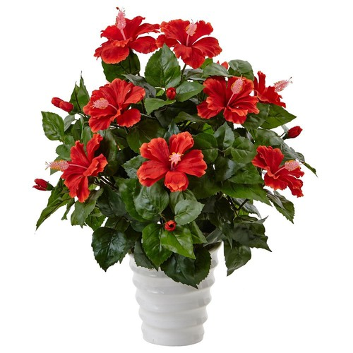 Nearly Natural Indoor Hibiscus Artificial Flowering Plant in Swirl Planter