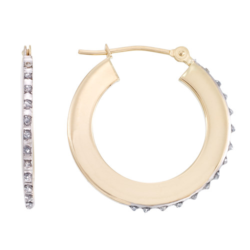 Diamond Fascination 14K Yellow Gold Round Thick Hoop Earring