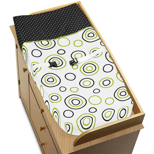Sweet Jojo Designs Lime and Black Spirodot Collection Changing Pad Cover