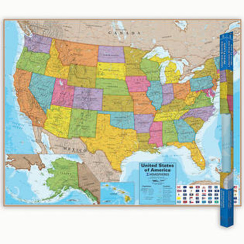 Round World Products Hemispheres Laminated Map United