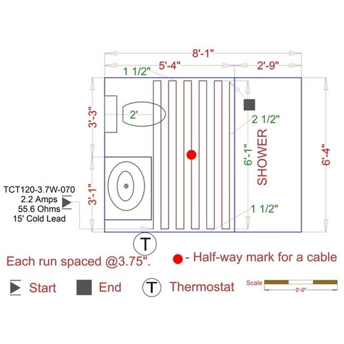 WarmlyYours - 19 sq. ft. - 120V Electric Floor Heating Cable Kit with Touch Screen Thermostat