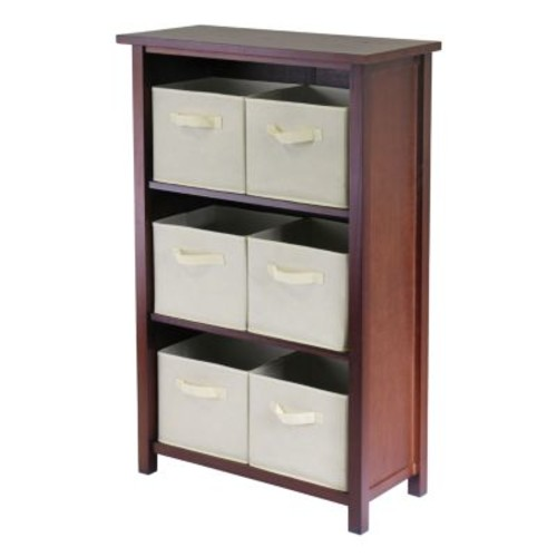 Winsome Wood Verona Wood 4 Tier Open Cabinet with 6 Beige Folding Fabric Baskets [Brown, beige basket]