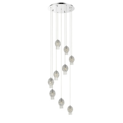 53.75 in. One Light Mini Pendant with White Glass Shade [brushed nickel]