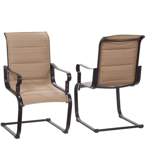 Hampton Bay Belleville Rocking Padded Sling Outdoor Dining Chairs (2-Pack)