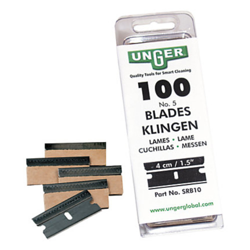 Unger Safety Scraper Replacement Blades, #9, Pack Of 100