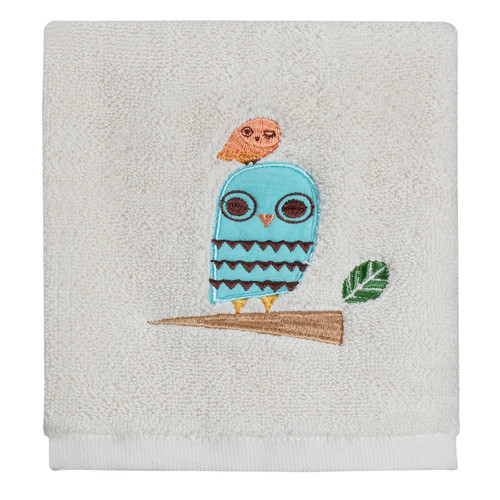 Give a Hoot Whimsical Owls Embroidered Bathroom Wash Cloth Fingertip Towel