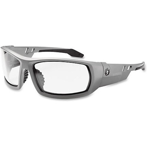 Ergodyne Clear Lens/Gray Frame Safety Glasses - Durable, Flexible, Non-slip, Scratch Resistant, Anti-fog, Perspiration Resistant, Comfortable - Ultraviolet Protection - Polycarbonate Lens, Nylon Frame, Polycarbonate Temple, Rubber Nose Pad - Matte Gray, Clear - 1 Each