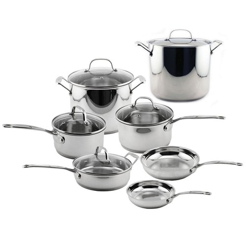 BergHOFF EarthChef Premium 12-Piece Stainless Steel Cookware Set with Lids