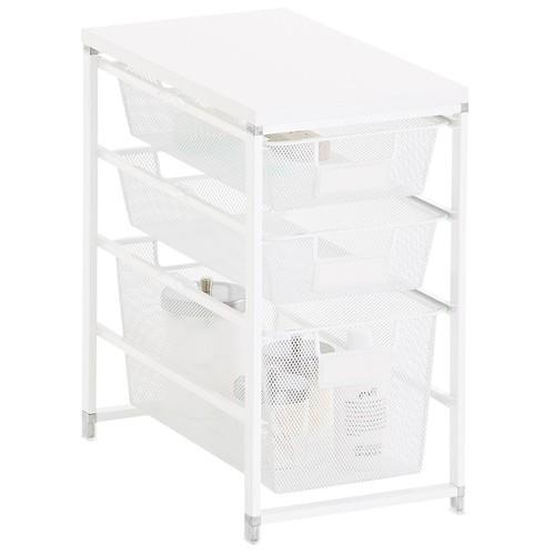 White Cabinet-Sized elfa Mesh Bath Storage