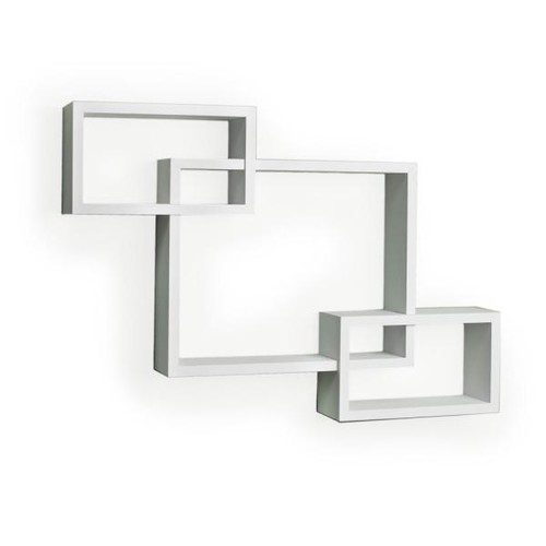 DANYA B 26.5 in. x 19 in. White Laminated Intersecting Squares Floating Shelf