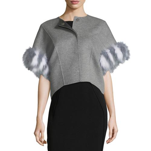 FENDI Fur-Trim Double-Face Cashmere Bolero