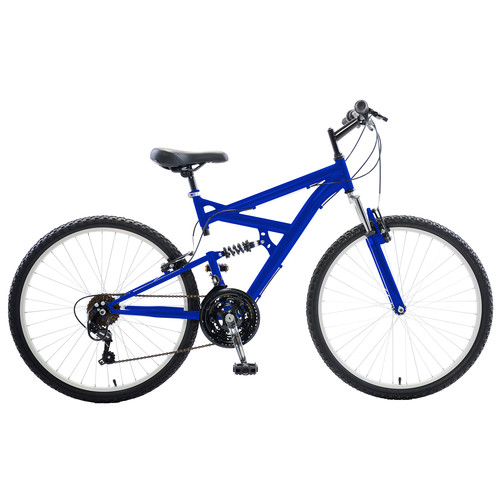 Cycle Force Group Dual Suspension Mountain Bike, 26 inch wheels, 18 inch frame, Men's Bike, Blue