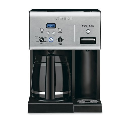 Cuisinart CHW-12 Coffee Plus 12-Cup Programmable Coffeemaker with Hot Water System, Black/Stainless [Black/Stainless, 12-Cup]