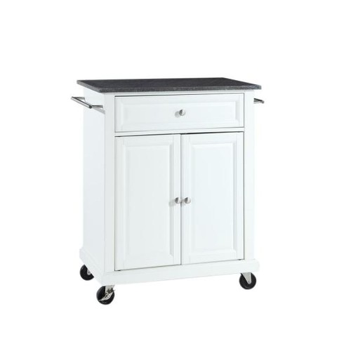 Crosley White Kitchen Cart with Black Granite Top
