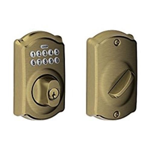 BE365 CAM 609 Camelot Keypad Deadbolt, Antique Brass [Antique Brass, Camelot Keypad]
