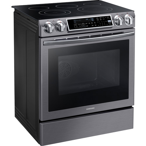 Samsung - 5.8 Cu. Ft. Electric Self-Cleaning Slide-In Range with Convection - Black stainless steel