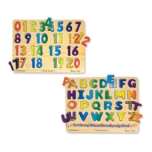 Melissa & Doug Numbers & Alphabet Sound Puzzle Bundle