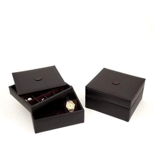 Stacked Valet Watch Box, Brown