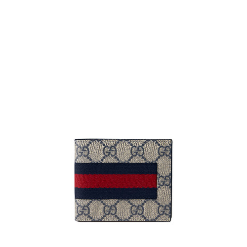 GUCCI Web Gg Supreme Canvas Wallet, Beige
