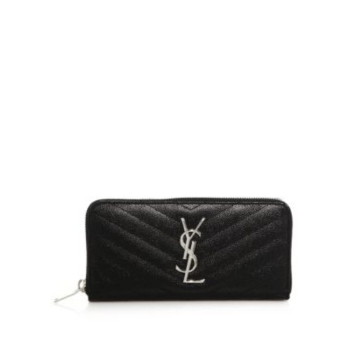 SAINT LAURENT Monogram Matelasse Leather Zip Continental Wallet