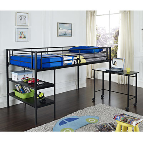 W. Trends Twin-Size Loft Bed with Desk and Shelves - Black