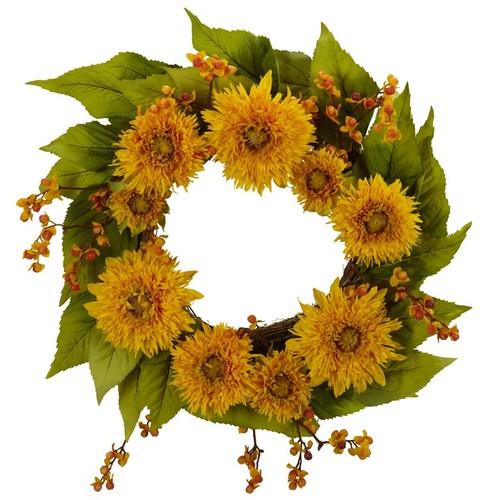 Nearly Natural Golden Sunflower Wreath 22-Inch Yellow 4904