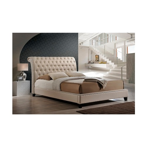 Jazmin Tufted Light Beige Modern Queen Size Bed with Upholstered Headboard