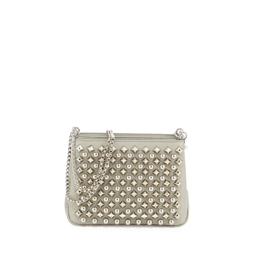 CHRISTIAN LOUBOUTIN Triloubi Small Studded Leather Shoulder Bag, Silver
