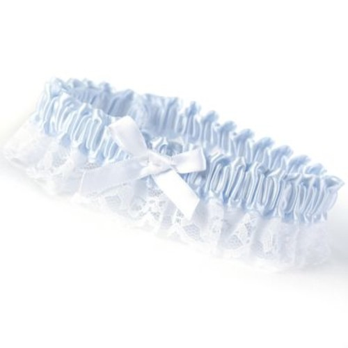 HBH Petite Garter With White Bows and Delicate Lace Trim, Light Blue