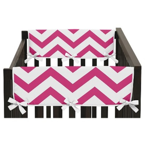 Sweet Jojo Designs Pink & White Chevron Side Crib Rail Guard Covers (Set of 2) - Pink