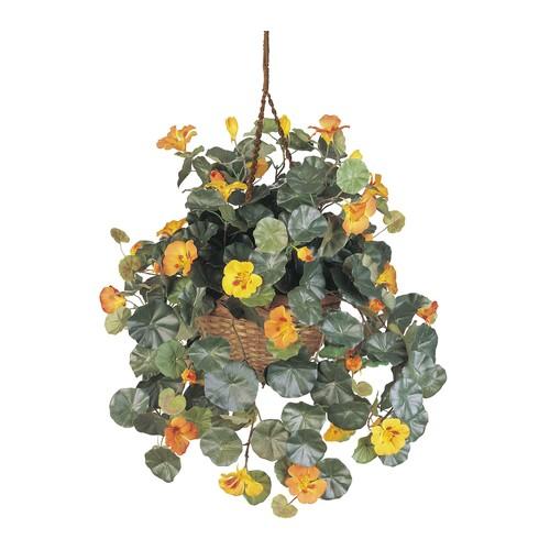Nasturtium Silk Hanging Basket by Nearly Natural
