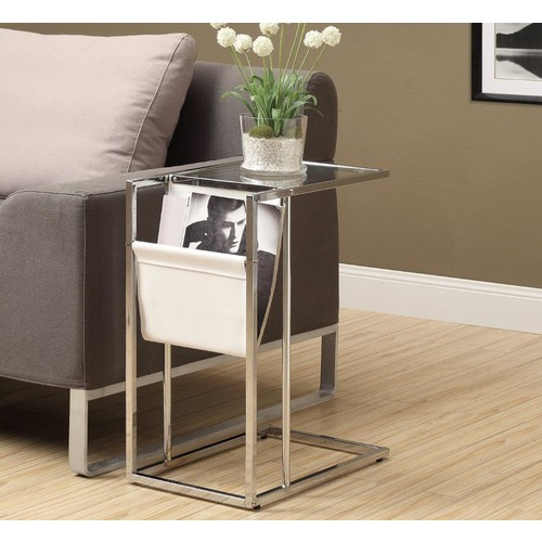 Monarch I 3034 Accent Table - White / Chrome Metal with a Magazine Rack