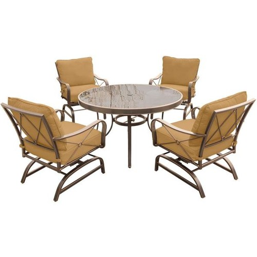 Hanover Summer Nights 5-Piece Outdoor Dining Set with Round Glass-Top Table and Steel Rockers with Desert Sunset Cushions