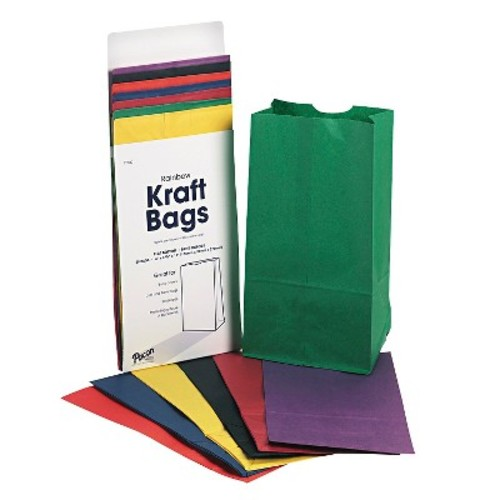 Rainbow Bags, Assorted Bright Color Kraft Paper 28/Pack